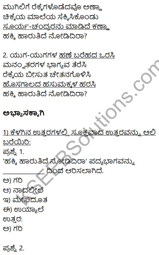 Hakki Harutide Nodidira Kannada Poem KSEEB Solution