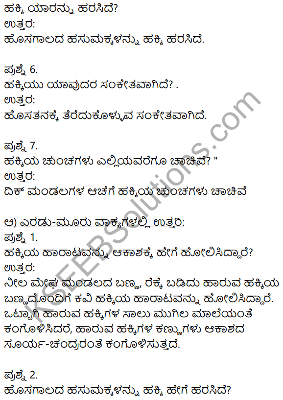 Hakki Harutide Nodidira Kannada Poem Notes KSEEB Solution