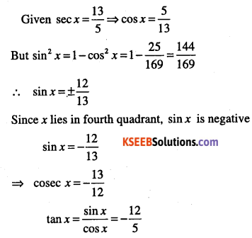 1st PUC Maths Question Bank Chapter 3 Trigonometric Functions 29