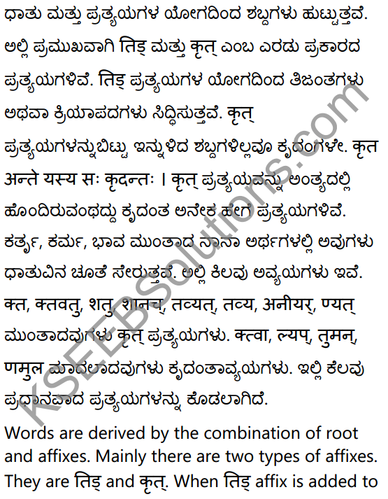 1st PUC Sanskrit Textbook Answers Vyakaran कृदन्ताः 1