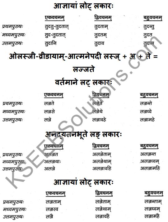 1st PUC Sanskrit Textbook Answers Vyakaran क्रियापदानि 10