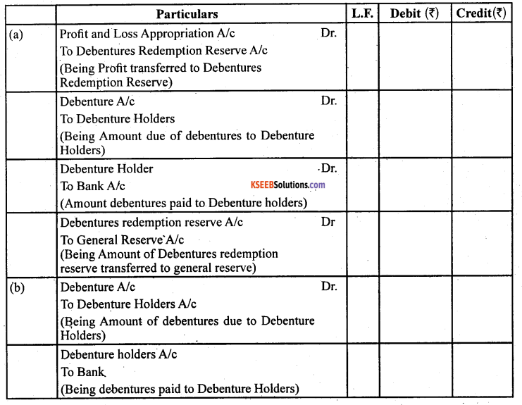 2nd PUC Accountancy Question Bank Chapter 2 Issue and Redemption of Debentures - 62