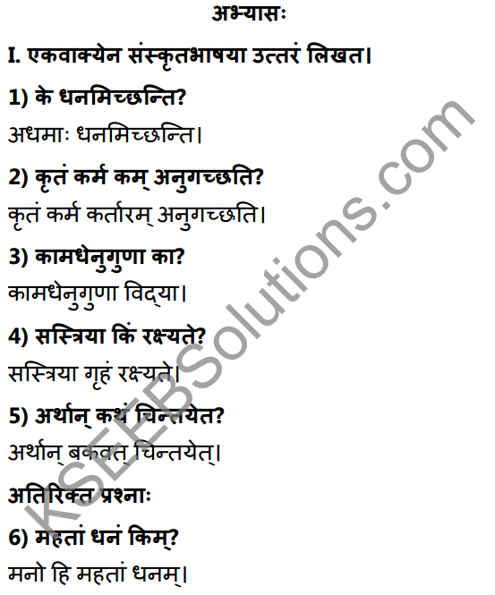 2nd PUC Sanskrit Textbook Answers Shevadhi Chapter 9 नीतिसारः 1