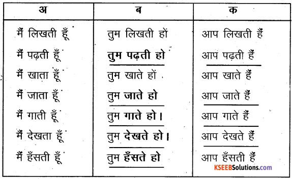 KSEEB Solutions for Class 6 Hindi Chapter 8 मैं, हम, तू, तुम, आप 8