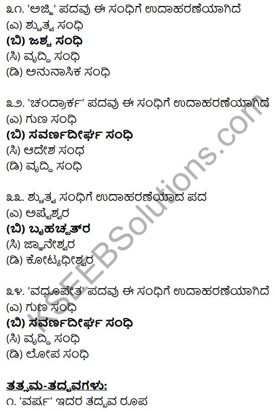 Karnataka SSLC Class 10 Siri Kannada Grammar Anvayika Vyakarana 40