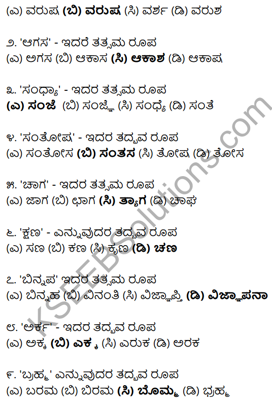 Karnataka SSLC Class 10 Siri Kannada Grammar Anvayika Vyakarana 41