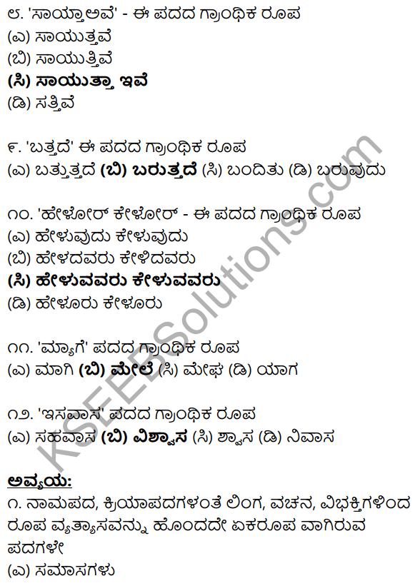 Karnataka SSLC Class 10 Siri Kannada Grammar Anvayika Vyakarana 53