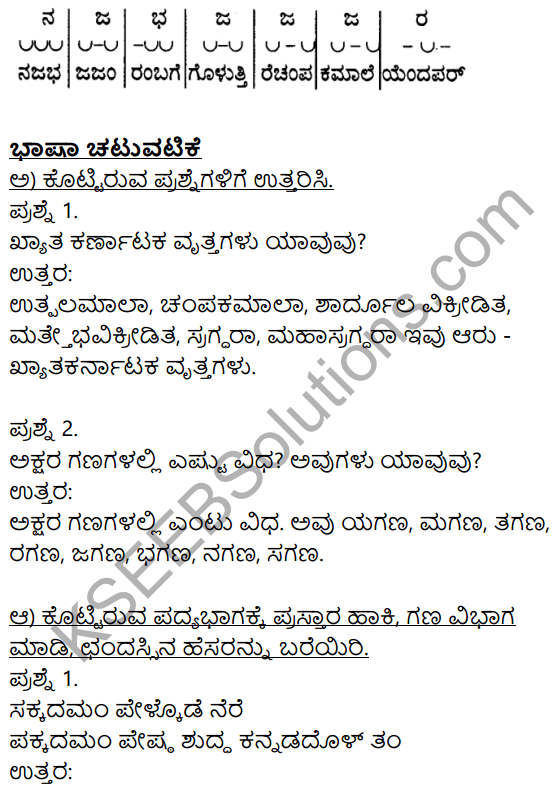 Siri Kannada Text Book Class 9 Solutions Padya Chapter 8 Kannada Naadu Nudi 10