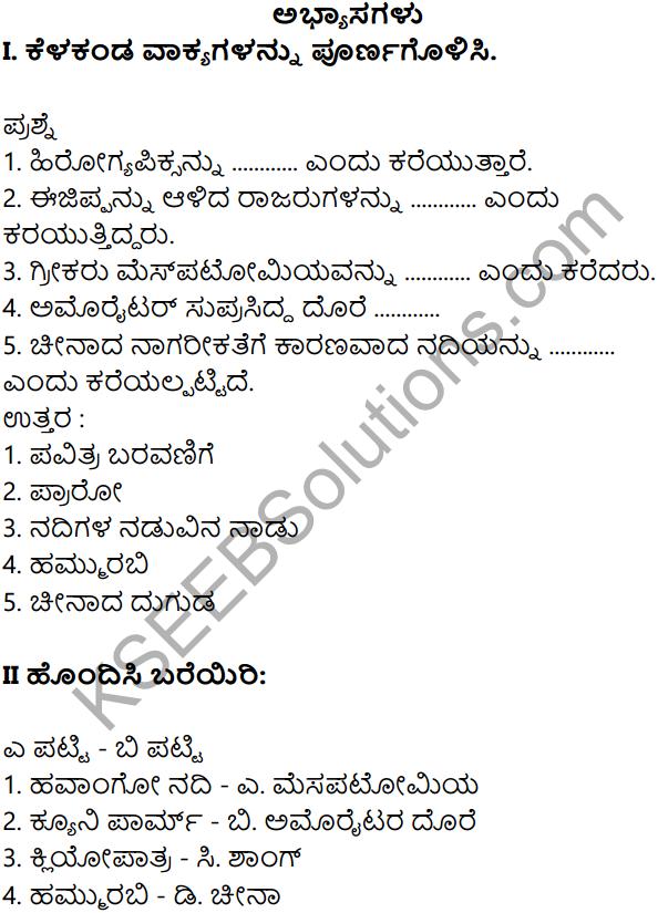 KSEEB Solutions for Class 8 History Chapter 4 Jagattina Prachina Nagarikathegalu 1