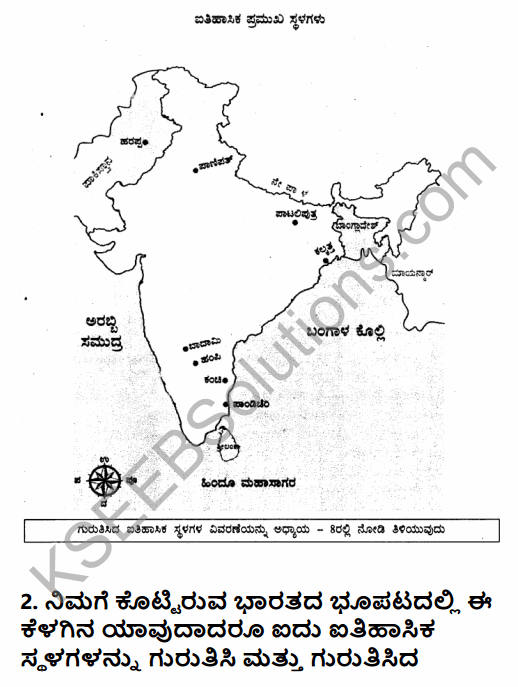 2nd PUC History Question Bank Chapter 8 Map Work in Kannada 2