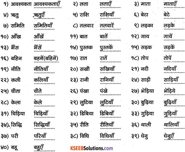 1st PUC Hindi Workbook Answers व्याकरण वचन 1