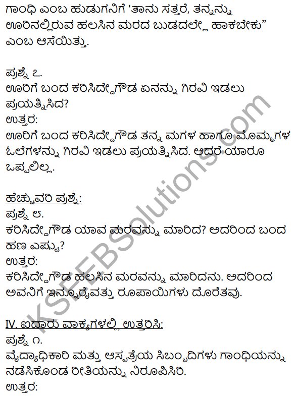 Gandhi 1st Puc Notes KSEEB Solution