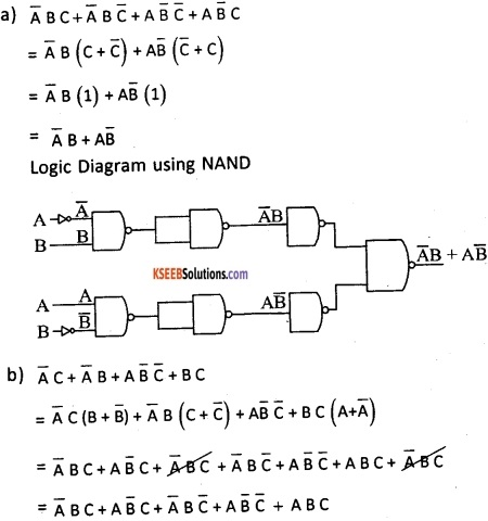 2nd PUC Computer Science Boolean Algebra Three Marks Questions and Answers 54