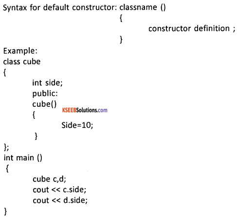 2nd PUC Computer Science Question Bank Chapter 9 Constructors and Destructors 2