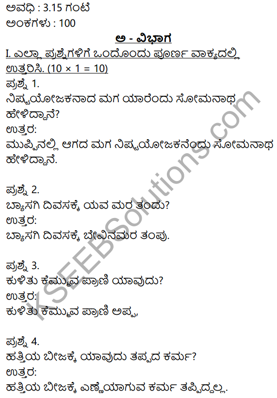 2nd PUC Kannada Model Question Paper 2 with Answers 1