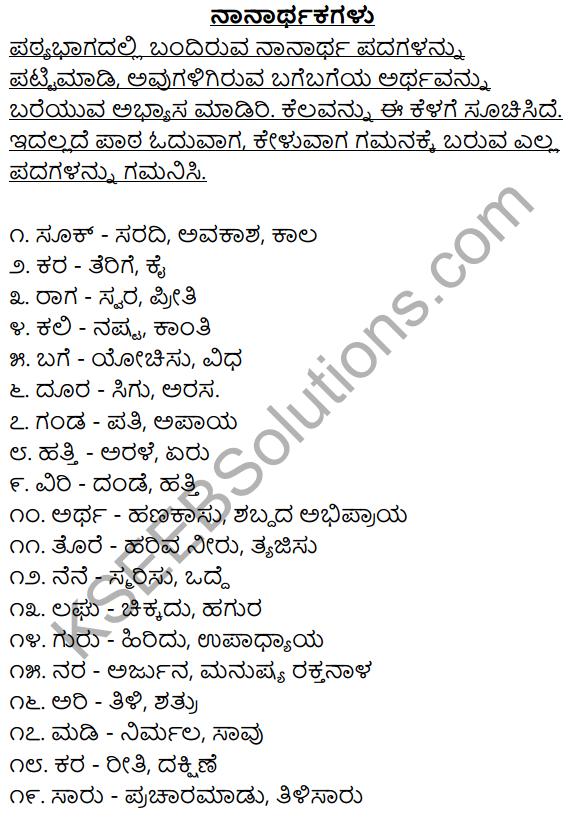 2nd PUC Kannada Workbook Answers Chapter 3 Nanarthagalu 1