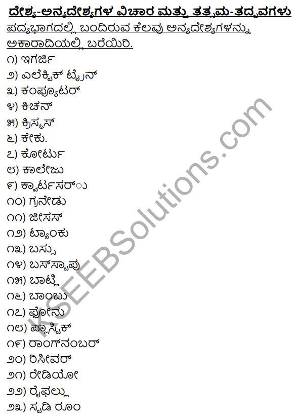 2nd PUC Kannada Workbook Answers Chapter 4 Desya, Anyadesyagalu, Tatsama-Tadbhava Galu 1